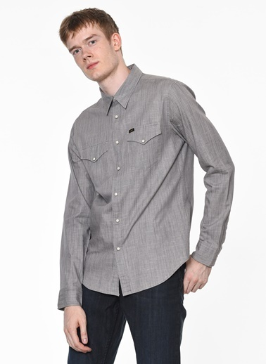 Lee Uzun Kollu Slim Fit Gömlek Gri